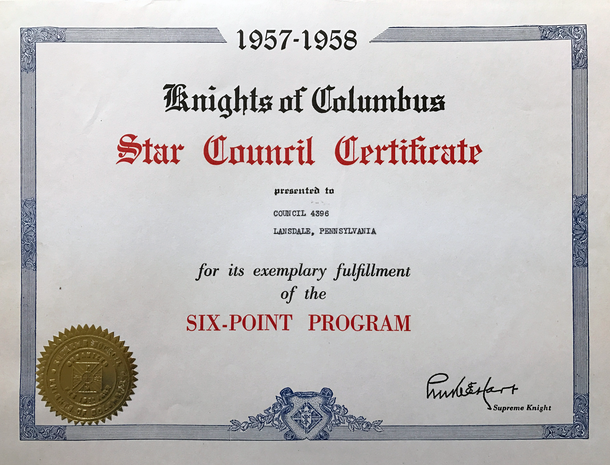 1957 Star Council Certificate